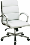Work Smart Mid Back Executive Faux Leather Chair with Polished Aluminum Finish - White [FL5388C-U11-FS-OS]
