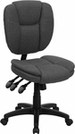 Mid-Back Gray Fabric Multifunction Ergonomic Swivel Task Chair [GO-930F-GY-GG]
