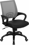 Mid-Back Gray Mesh Swivel Task Chair with Black Leather Padded Seat [CP-B176A01-GRAY-GG]