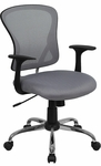 Mid-Back Gray Mesh Swivel Task Chair with Chrome Base [H-8369F-GY-GG]