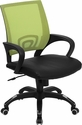 Mid-Back Green Mesh Computer Chair with Black Leather Seat