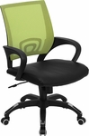 Mid-Back Green Mesh Swivel Task Chair with Black Leather Padded Seat [CP-B176A01-GREEN-GG]