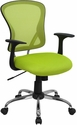 Mid-Back Green Mesh Swivel Task Chair with Chrome Base