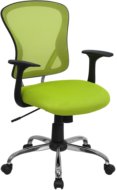Mid Back Green Mesh Swivel Task Chair With Chrome Base H