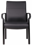 Mid Back LeatherPlus Guest Chair with Lumbar Support- Black [B689-FS-BOSS]