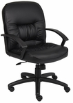 Mid Back LeatherPLUS Chair with Adjustable Tilt Tension - Black [B7306-FS-BOSS]