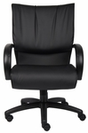 Mid Back LeatherPLUS Executive Chair with Padded Chrome Armrests - Black [B9706-FS-BOSS]