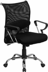 Mid-Back Black Mesh Swivel Manager's Chair with Adjustable Lumbar Support [BT-2905-GG]