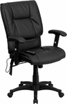 Mid-Back Massaging Black Leather Executive Swivel Office Chair [BT-2770P-GG]