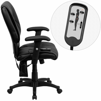 Mid Back Massaging Black Leather Executive Swivel Office Chair BT 2770P GG B