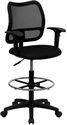 Mid-Back Mesh Drafting Chair with Black Fabric Seat and Height Adjustable Arms