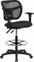Mid-Back Mesh Drafting Stool with Black Fabric Seat and Arms