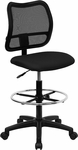 Mid-Back Mesh Drafting Chair with Black Fabric Seat [WL-A277-BK-D-GG]