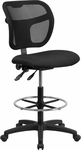 Mid-Back Mesh Drafting Chair with Black Fabric Seat [WL-A7671SYG-BK-D-GG]