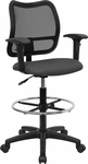 Mid-Back Mesh Drafting Chair with Gray Fabric Seat and Height Adjustable Arms [WL-A277-GY-AD-GG]