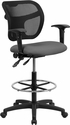 Mid-Back Mesh Drafting Chair with Gray Fabric Seat and Height Adjustable Arms