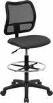 Mid-Back Mesh Drafting Chair with Gray Fabric Seat [WL-A277-GY-D-GG]