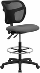 Mid-Back Mesh Drafting Chair with Gray Fabric Seat [WL-A7671SYG-GY-D-GG]