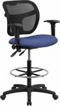 Mid-Back Mesh Drafting Chair with Navy Blue Fabric Seat and Height Adjustable Arms [WL-A7671SYG-NVY-AD-GG]