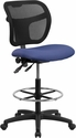 Mid-Back Mesh Drafting Chair with Navy Blue Fabric Seat