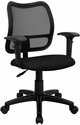 Mid-Back Mesh Task Chair with Black Fabric Seat and Arms