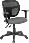 Mid-Back Mesh Swivel Task Chair with Gray Fabric Padded Seat and Height Adjustable Arms [WL-A7671SYG-GY-A-GG]