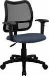 Mid-Back Mesh Swivel Task Chair with Navy Blue Fabric Padded Seat and Height Adjustable Arms [WL-A277-NVY-A-GG]