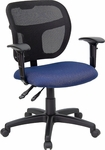 Mid-Back Mesh Swivel Task Chair with Navy Blue Fabric Padded Seat and Height Adjustable Arms [WL-A7671SYG-NVY-A-GG]