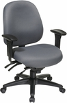 Work Smart Mid Back Multi Function Office Chair with Ratchet Back Height Adjustment [43891-FS-OS]