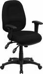 Mid-Back Multifunction Black Fabric Executive Swivel Chair with Adjustable Arms [BT-662-BK-GG]