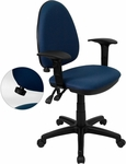 Mid-Back Navy Blue Fabric Multi-Functional Swivel Task Chair with Adjustable Lumbar Support and Height Adjustable Arms [WL-A654MG-NVY-A-GG]