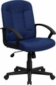 Mid-Back Navy Fabric Executive Chair with Nylon Arms