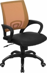 Mid-Back Orange Mesh Swivel Task Chair with Black Leather Padded Seat [CP-B176A01-ORANGE-GG]