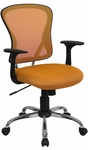 Mid-Back Orange Mesh Swivel Task Chair with Chrome Base [H-8369F-ORG-GG]