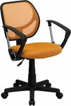 Low Back Orange Mesh Swivel Task Chair with Arms [WA-3074-OR-A-GG]