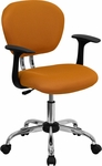 Mid-Back Orange Mesh Swivel Task Chair with Chrome Base and Arms [H-2376-F-ORG-ARMS-GG]