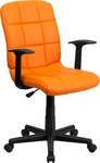 Mid-Back Orange Quilted Vinyl Swivel Task Chair with Nylon Arms [GO-1691-1-ORG-A-GG]