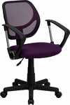 Purple Mesh Swivel Task Chair with Arms [WA-3074-PUR-A-GG]