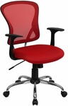Mid-Back Red Mesh Swivel Task Chair with Chrome Base [H-8369F-RED-GG]