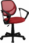 Low Back Red Mesh Swivel Task Chair with Arms [WA-3074-RD-A-GG]