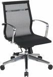 OSP Furniture Mid Back Screen Office Chair with Lumbar Support and Polished Aluminium Arms - Black [7361MLT-FS-OS]