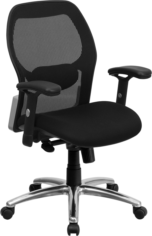 Mid Back Black Super Mesh Executive Swivel Office Chair With Mesh Padded Seat