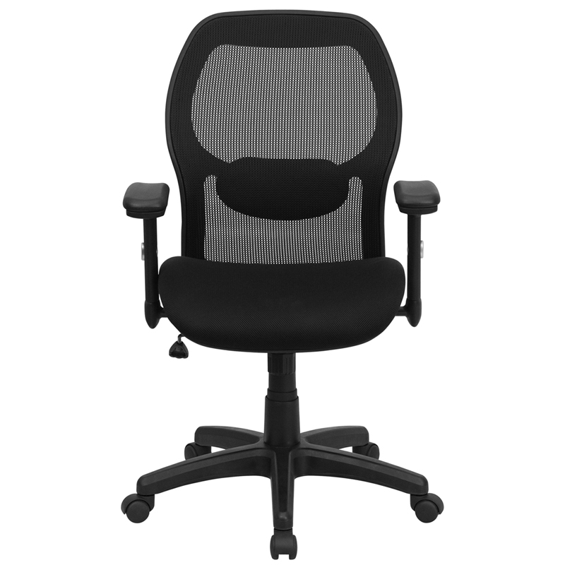 Mid Back Black Super Mesh Executive Swivel Chair With Adjustable Arms LF W42