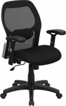 Mid-Back Black Super Mesh Executive Swivel Office Chair with Mesh Padded Seat [LF-W42B-GG]