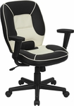 Mid-Back Black and Cream Vinyl Steno Executive Swivel Office Chair [BT-2922-BK-GG]