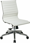 OSP Furniture Mid Back Armless Eco Leather Office Chair with Polished Base - White [73633-FS-OS]
