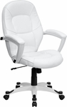Mid-Back White Leather Executive Swivel Office Chair [QD-5058M-WHITE-GG]