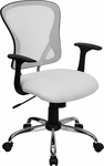 Mid-Back White Mesh Swivel Task Chair with Chrome Base and Arms [H-8369F-WHT-GG]