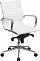 Mid-Back White Ribbed Upholstered Leather Conference Chair