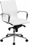 Mid-Back White Ribbed Upholstered Leather Swivel Conference Chair [BT-9826M-WH-GG]